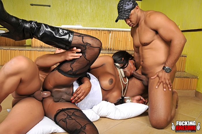 Two Horny Latino Stud Gang Bang Black Brazilian Shemale Slut Flavia