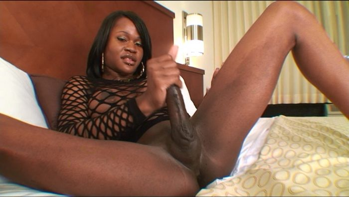 Sexy Black NY Shemales gets Oiled up, Strokes and Sucks Cock