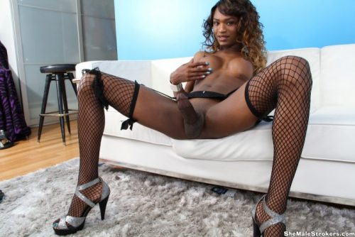 Tranny Pornstar Chanel Coture with her Long Black Tranny