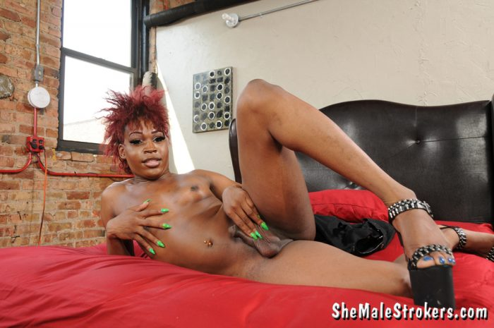 Ebony Shemale Genesis Black tranny Whacker