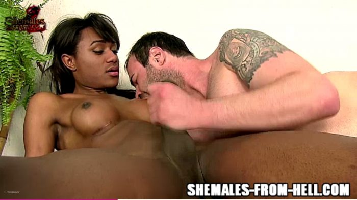 Brazilian Travesti LUIZA TRAJANO gets her black cock sucked…