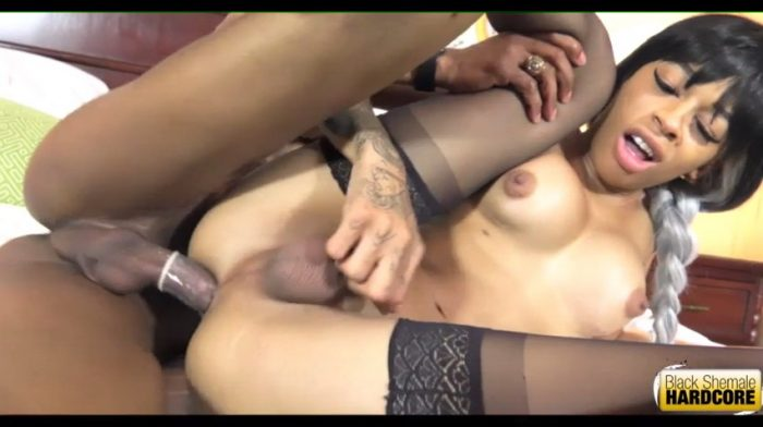 Young Black TS Erika fucks in her first Hardcore porn