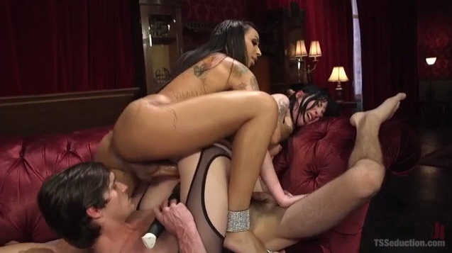 TS Honey Foxx Dominates Submissive freaky couple.