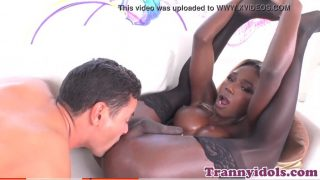 BlackTgirl Pornstar rides cock and gets pounded