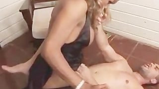 Hot Black Shemale Fucking A Guy in his tight white ass